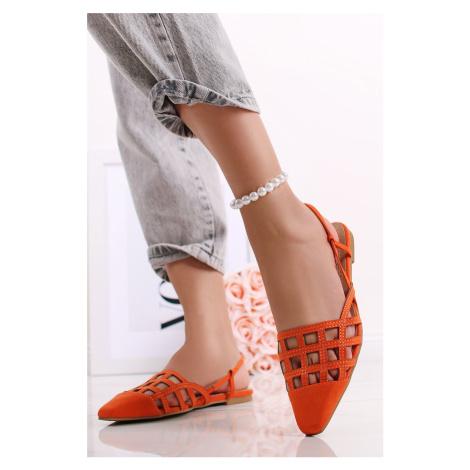 Oranžové semišové baleríny Rosie Givana