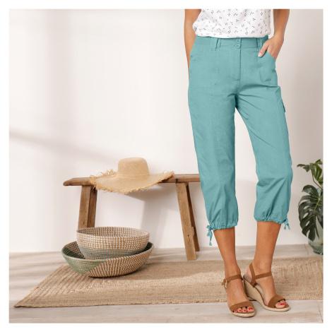 Blancheporte 3/4 kalhoty s úpletovým pásem bledě modrá