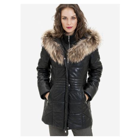 Černý dámský kožený kabát s pravou kožešinou KARA