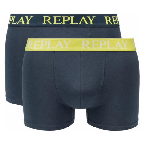 Replay Boxerky Boxer Style 01/C Basic Cuff Logo 2Pcs Box - Dark Blue/Lime