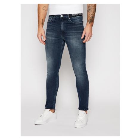 Calvin Klein Calvin Klein pánské tmavě modré džíny LOGO WAISTBAND SKINNY JEANS