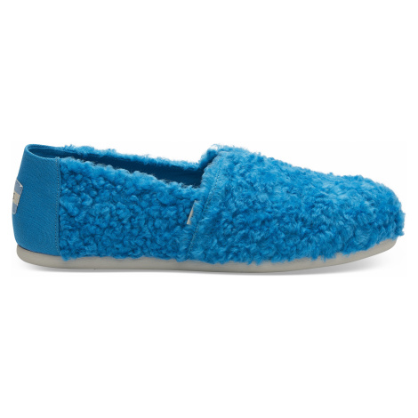 Blue Cookie Monster Faux Shearing Women Alpargata Toms