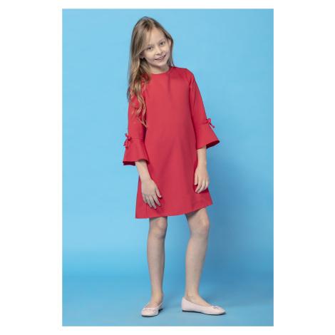 Mini dívčí bílé šaty modré dětské s 3/4 volánkovým rukávem