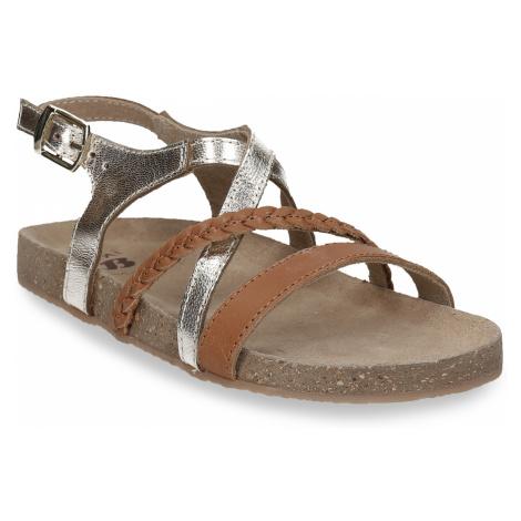 Kožené hnědé sandály se zlatými pásky Baťa