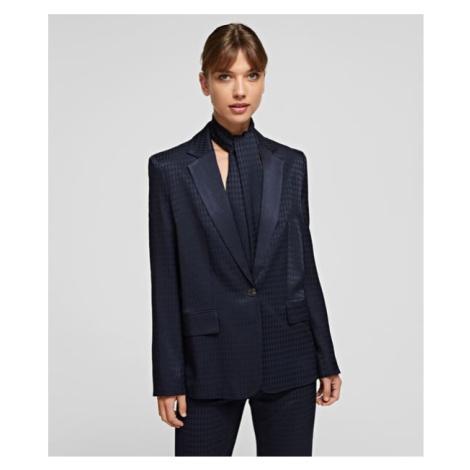 Sako Karl Lagerfeld Cameo Logo Blazer W/ Belt - Modrá