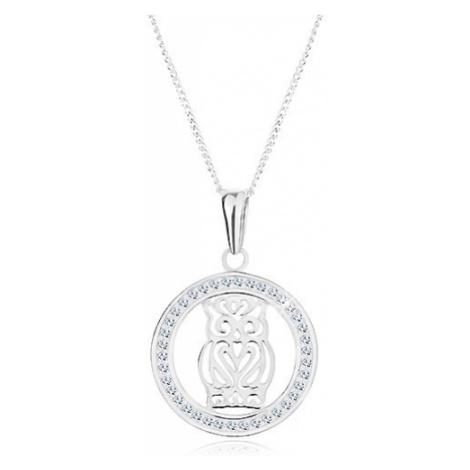 Náhrdelník ze stříbra 925, přívěsek - vyřezávaná sova ve třpytivém kruhu Šperky eshop