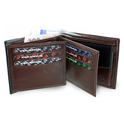 Hnědo černá kožená pánská peněženka Anbel Arwel