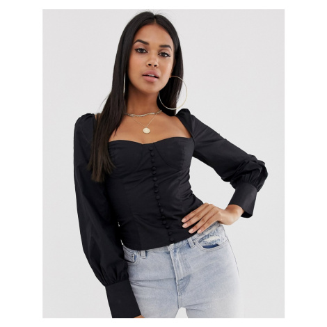 Club L London square neck button through shirt with balloon sleeves in black