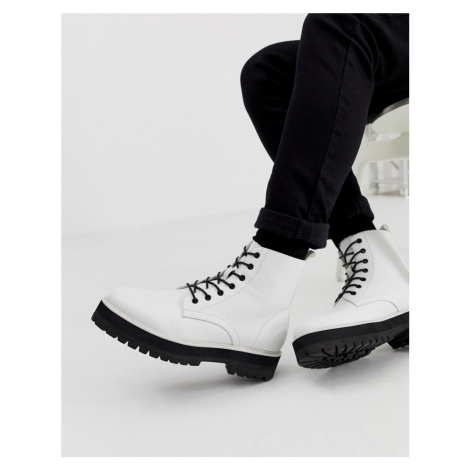 ASOS DESIGN lace up boot in white faux leather with raised chunky sole