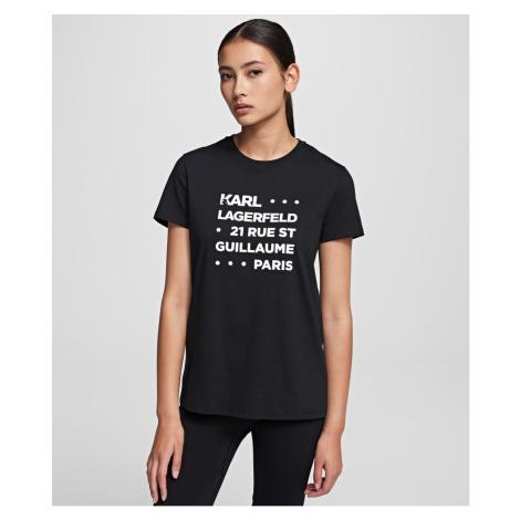 Tričko Karl Lagerfeld Stacked Logo Adress T-Shirt - Černá