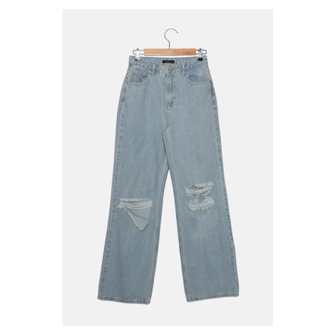 Trendyol Blue Ripped Detailed High Waist Wide Leg Jeans