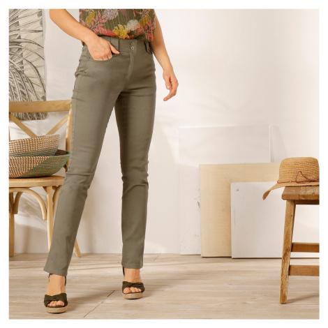 Blancheporte Rovné kalhoty s vysokým pasem, malá postava khaki