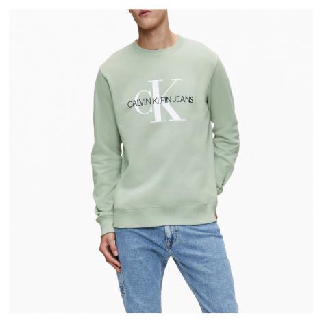 Calvin Klein pánská zelená mikina Monogram