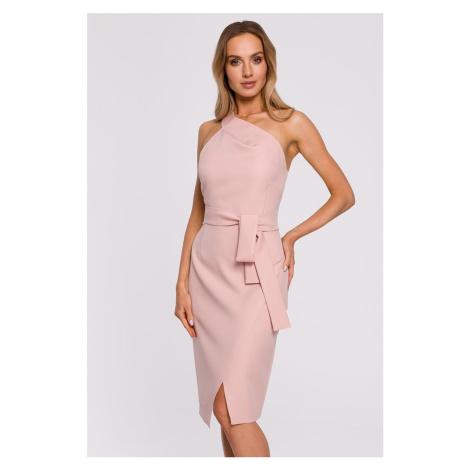 Světle růžové midi šaty M572 Moe