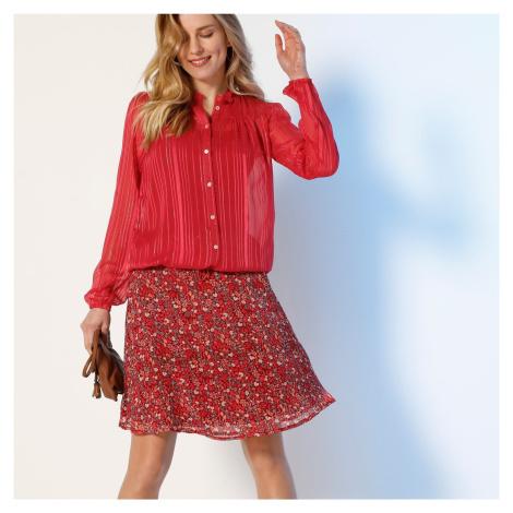 Blancheporte Áčková krátká sukně, voál s potiskem korálová