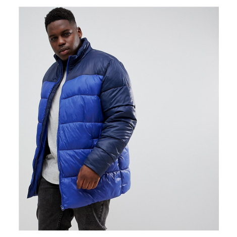 Jacamo Plus puffer jacket in colour block-Navy