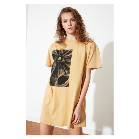 Trendyol Camel Printed Knitted T-shirt Dress