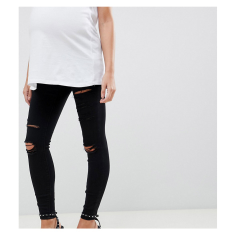 ASOS DESIGN Maternity Ridley high waisted skinny jeans in black with shredded rips and under the