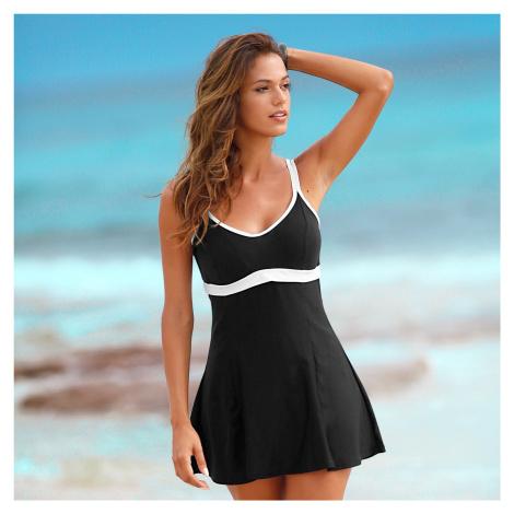Blancheporte Jednodílné plavky se sukénkou černá/bílá