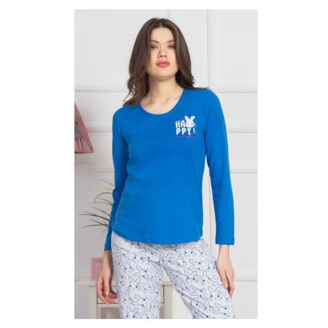Dámské pyžamo dlouhé Králík Happy, XL, modrá Vienetta Secret