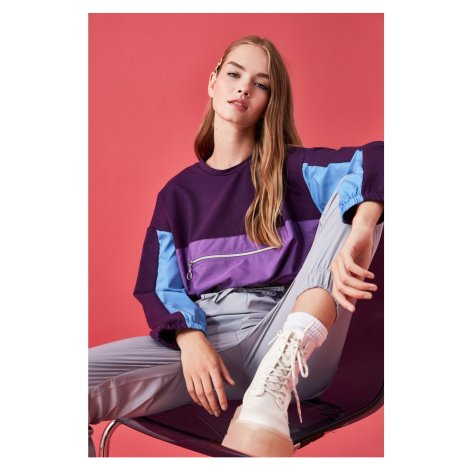 Trendyol Purple Color Block Crop Knitted Sweatshirt