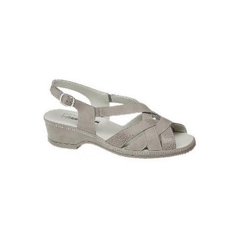 Stříbrné kožené komfortní sandály Medicus