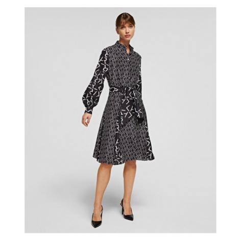 Šaty Karl Lagerfeld Future Logo Silk Shirt Dress - Černá