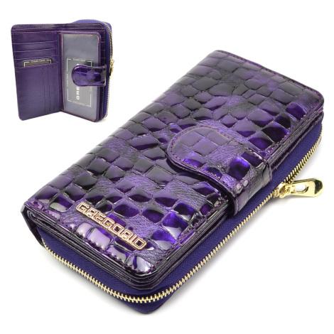 Fialová kožená dámská peněženka s přezkou GREGORIO