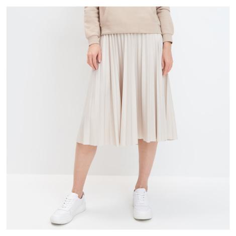 Mohito - Plisovaná koženková sukně - Krémová