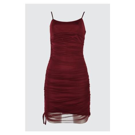 Trendyol Burgundy Drapeli Tulle Dress