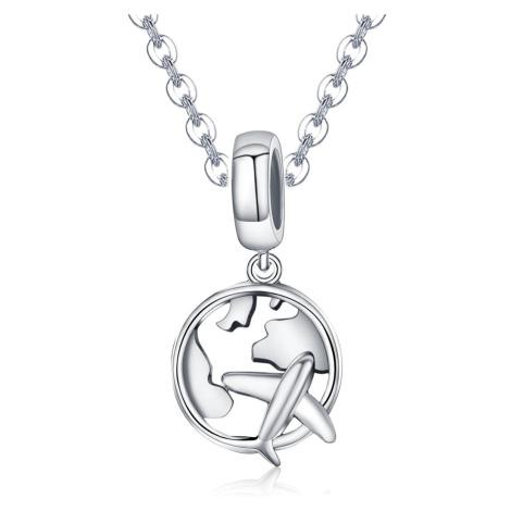 Linda's Jewelry Stříbrný náhrdelník Letadlo Globe INH020