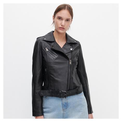 Reserved - Kožená bunda křivák s páskem - Černý