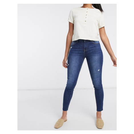 Bershka skinny push up jean with raw hem in dark blue