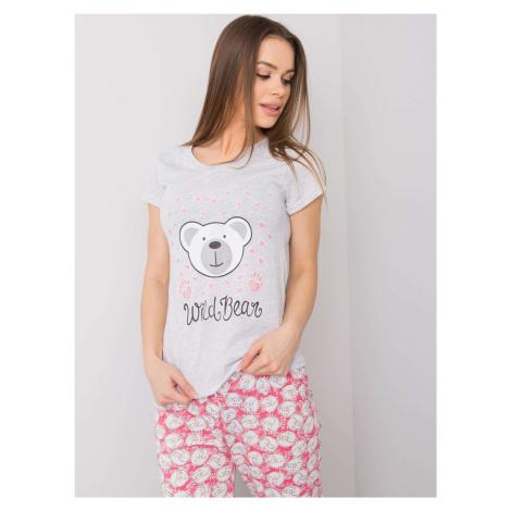 Šedé dámské bavlněné pyžamo FPrice