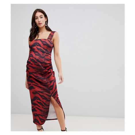 True Violet Maternity scuba square neck bodycon midi dress in tiger print-Multi