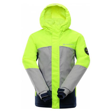 ALPINE PRO SARDARO 2 Dětská lyžařská bunda KJCP154530 reflexní žlutá