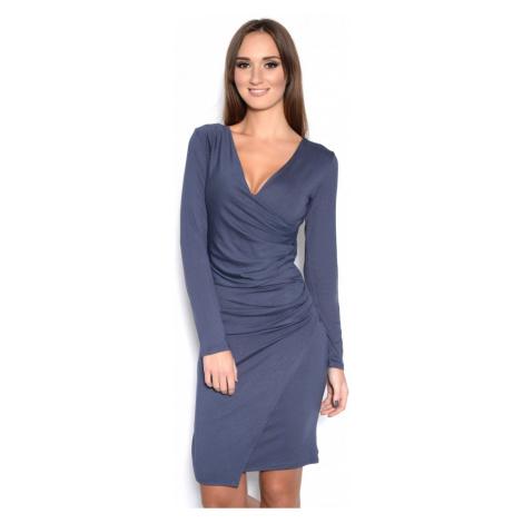 Řasené šaty s dlouhým rukávem a efektem sukně barva grafitová
