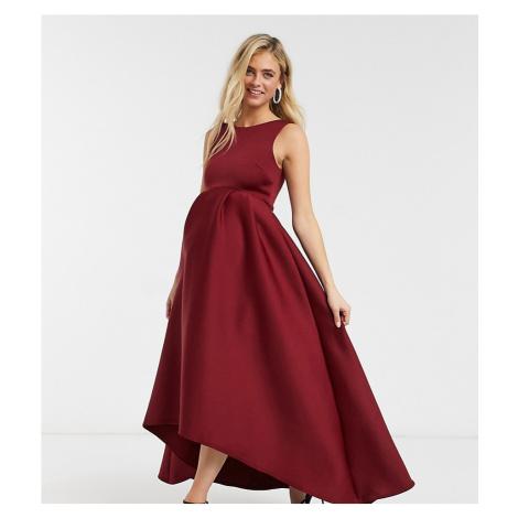 True Violet Maternity midaxi prom dress with high low hem in plum-Purple