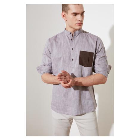 Trendyol Brown Men's Regular Fit Judge Collar Single Pocket Shirt