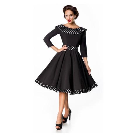 Retro společenské dámské šaty s 3/4 rukávy a límcem
