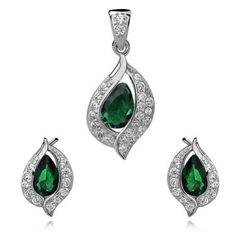 OLIVIE Smaragdová sada stříbrných šperků 2685