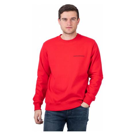 Calvin Klein Calvin Klein pánská červená mikina MONOGRAM CREW NECK