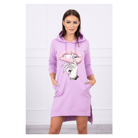 Dress with longer back and colorful print purple Kesi