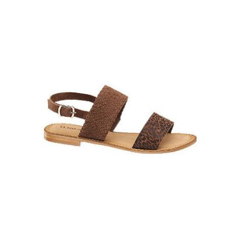 Hnědé kožené sandály Vero Moda se zvířecím vzorem