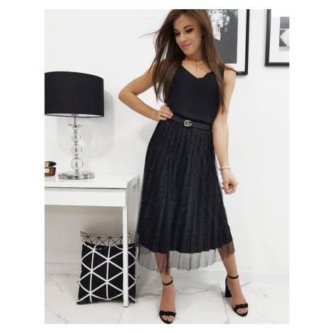 STAR'S II pleated skirt, black CY0209 DStreet