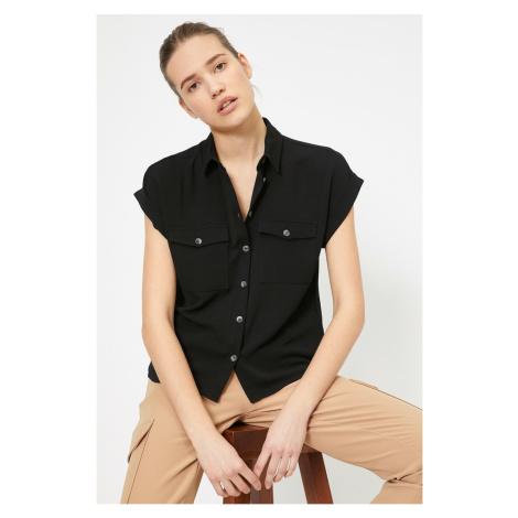 Koton Women's Black Pocket Detailed Shirt