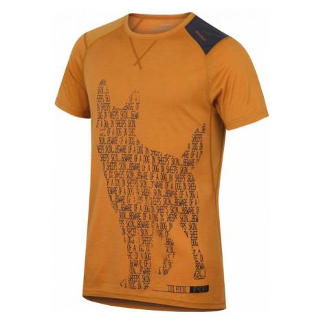 Pánské funkční triko HUSKY Merino 100 M krátký rukáv DOG hnědooranžová