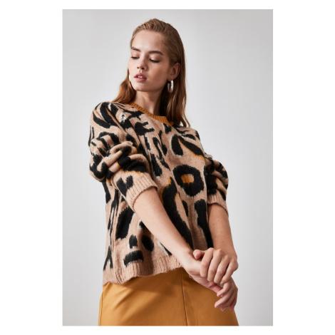 Trendyol Mustard Patterned Knitwear Sweater