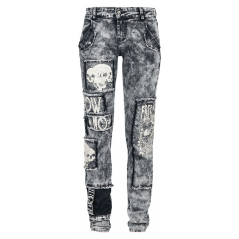 Rock Rebel by EMP Skarlett - graue Jeans mit starker Waschung, Prints und Patches Dámské džíny š