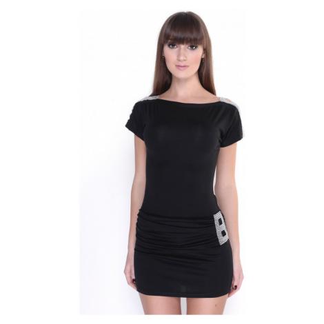 Zdobené šaty s lodičkovým výstřihem barva černá Oxyd